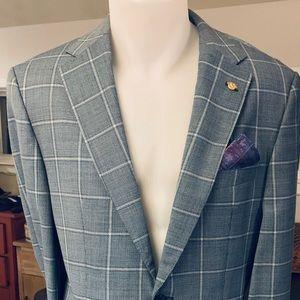 HUGO BOSS 38R Turquoise Plaid S. Coat/Blazer BNWT